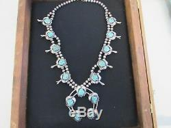 Vintage Turquoise Sterling Silver Squash Blossom Necklace