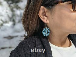 Vintage Wmns Navajo Earrings Turquoise Cluster SouthWest Native American Jewelry