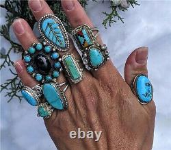 Vintage Women's Zuni Earrings Turquoise Inlay Native American Indian Jewelry