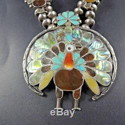 Vintage ZUNI Sterling PEACOCK Inlay SQUASH BLOSSOM Necklace SET Ring Earrings