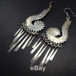 Vintage ZUNI Sterling Silver TURQUOISE Needlepoint EARRINGS Long Dangle Pierced
