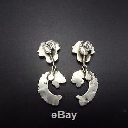 Vintage ZUNI Sterling Silver TURQUOISE Needlepoint EARRINGS Repurposed