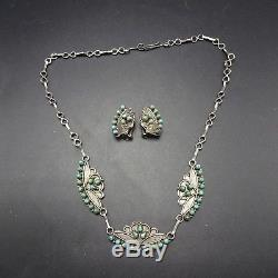 Vintage ZUNI Sterling Silver & TURQUOISE Petit Point NECKLACE & EARRINGS Set