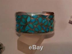 Vintage Zuni Alice Leekya Homer Turquoise Channel Inlay Cuff Bracelet & Ring