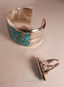 Vintage Zuni Alice Leekya Homer Turquoise Channel Inlay Cuff Bracelet & Ring
