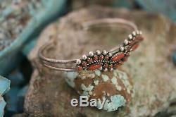 Vintage Zuni Cuff Bracelet, Red Coral, Sterling Signed