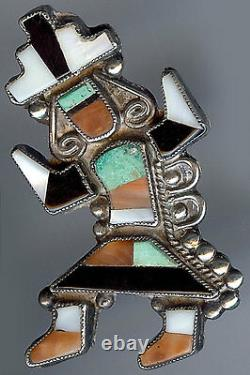 Vintage Zuni Indian Silver Coral Onyx And Turquoise Inlay Rainbow Man Pin Brooch