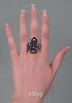 Vintage Zuni Indian Silver Inlaid Turquoise Coral Knifewing Ring Size 5-1/2