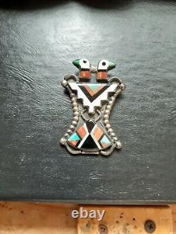 Vintage Zuni Indian Silver Inlaid Two Head Thunderbird Pin Estate Find