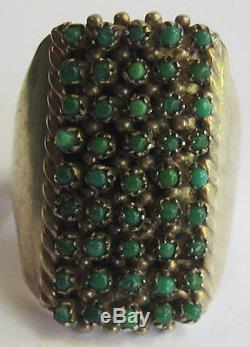 Vintage Zuni Indian Silver Petit Point Snake Eye Turquoise Ring Size 5-1/2