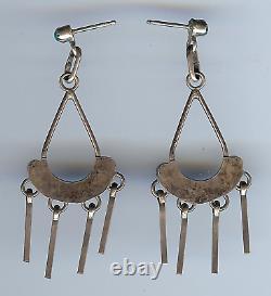 Vintage Zuni Indian Silver & Turquoise Dangle Pierced Earrings