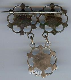 Vintage Zuni Indian Silver Turquoise Flower Dangle Pin Brooch