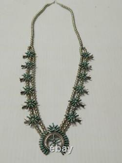 Vintage Zuni Indian Sterling Petit Point Turquoise Squash Blossom Necklace A+gft