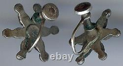 Vintage Zuni Indian Sterling Silver Green Blue Turquoise Star Shape Earrings