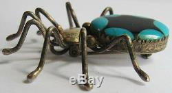 Vintage Zuni Indian Sterling Silver & Inlaid Onyx Turquoise Spider Pin Brooch