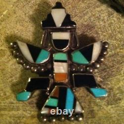 Vintage Zuni Indian Sterling Silver Inlaid Turquoise Shell Knifewing Pawn Pin