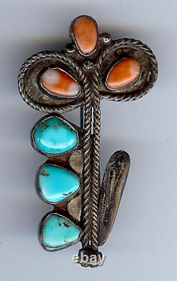 Vintage Zuni Indian Turquoise Coral Flower Pin Brooch