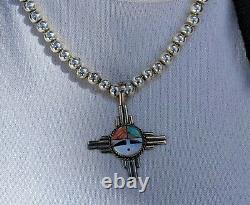 Vintage Zuni Inlay Sun Face Necklace Symbol Happiness Native American Jewelry