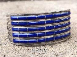 Vintage Zuni Native American Lapis Lazuli Inlay Sterling Silver Cuff Bracelet