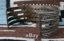 Vintage Zuni Navajo 48 Turquoise Snake Eyes Sterling Silver Bracelet