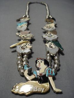 Vintage Zuni Navajo Turquoise Sterling Silver Squash Blossom Necklace Disney