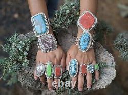 Vintage Zuni Ring Turquoise Kachina Signed Native American Jewelry size 6.25