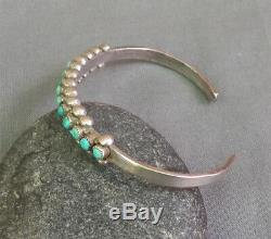 Vintage Zuni Silver Snake Eye Turquoise Row Cuff Bracelet Pale Blues & Greens