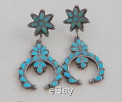 Vintage Zuni Silver Turquoise Inlay Earrings Long Pierced Naja Design Dangle