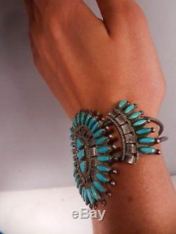 Vintage Zuni Sleeping Beauty Turquoise Needlepoint Cuff Bracelet, Signed, Estate
