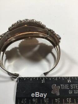 Vintage Zuni Sterling Silver Faux Turquoise Cluster Bracelet