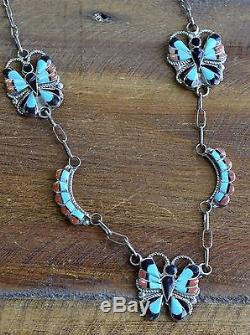 Vintage Zuni Sterling Silver Multi-Stone Inlay Butterfly Necklace