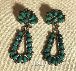 Vintage Zuni Sterling Silver & Turquoise Petite Point Dangle Earrings Signed