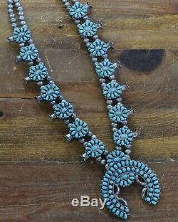 Vintage Zuni Sterling Silver and Turquoise Petit Point Squash Blossom Necklace