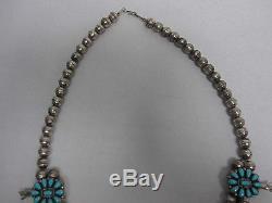 Vintage Zuni Sterling Turquoise Squash Blossom Necklace Gorgeous