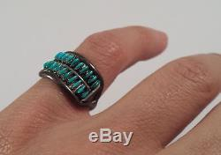 Vintage Zuni Turquoise Needle Points Sterling Silver Ring Size 6