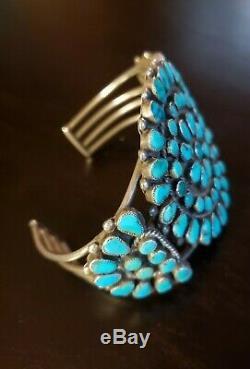 Vintage Zuni Turquoise Petit Point Cluster Cuff Sterling Bracelet