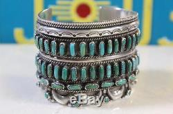 Vintage Zuni Valentino & Matilda Banteah Sterling Silver Turquoise Cuff Bracelet