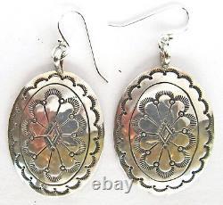 Vintage concho dangle earrings 2 1/8 x 1, sterling silver, 2 1/4 x 1 1/4