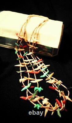 Vintage old pawn Zuni heishi and fetish 3 strand necklace