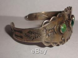 Vintage sterling silver turquoise bracelet old pawn Fred Harvey era wild horse