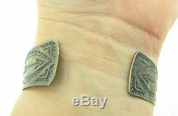 Vntg HUGE Fred Harvey Era Navajo Royston Turquoise Arrows Sterling Cuff Bracelet