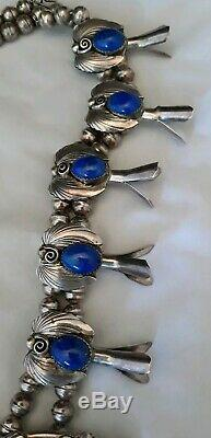 Vtg Augustine Largo Navajo Sterling Silver Blue Lapis SQUASH BLOSSOM Necklace