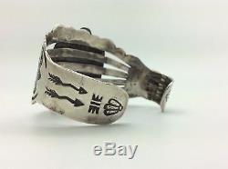 Vtg Fred Harvey Era Sterling Silver Cuff Bracelet Large Thunderbird & Stamping