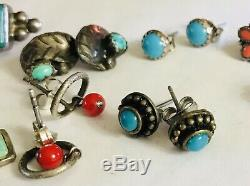 Vtg Lot 10 Pair Native American Sterling Silver 925 Earrings Posts Turquoise