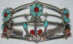 Vtg MS SIMPLICIO Sterling Silver ZUNI SQUASH BLOSSOM NECKLACE Jewelry SET Signed