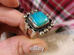 Vtg Mens Navajo Water Spiderweb Morenci Turquoise Sterling Silver Ring Size 10.5