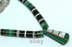 Vtg Native American Santo Domingo Malachite Onyx Mop Heishi Brass Necklace Fns