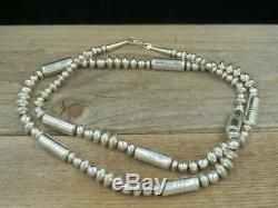 Vtg Native American Sterling Navajo Pearls Barrel Tube Bead Necklace 30