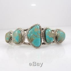 Vtg Native American Sterling Silver Chunky Turquoise Cuff Bracelet LFL4