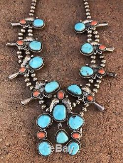 Vtg Navajo Sterling Silver Kingman Turquoise & Red Coral Squash Blossom Necklace